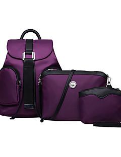 hesapli -Kadın's Çantalar Naylon Çanta Setleri sırt çantası Seyahat Çantası Okul Çantası 3 Adet Çanta Seti için Günlük Dış mekan Tüm Mevsimler