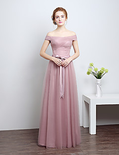 cheap Romance Blush-Floor-length Satin / Tulle Bridesmaid Dress - Sheath / Column Off-the-shoulder with Bow(s)