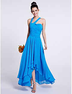 cheap Imperial Blue-A-Line One Shoulder Asymmetrical Chiffon Bridesmaid Dress with Draping Ruching by LAN TING BRIDE®