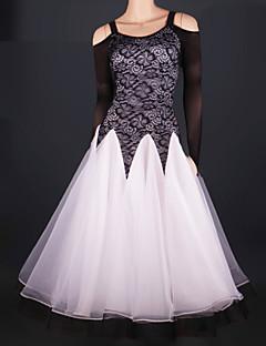hesapli -Balo Dansı Elbiseler Kadın's Performans Tül Tema / Baskı Kırma Dantel Uzun Kollu Doğal Elbise
