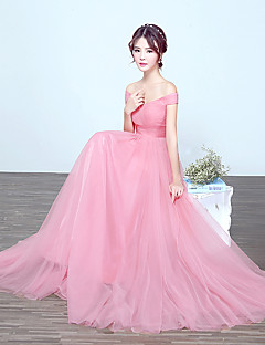 billige Romantisk rosa-A-linje Løse skuldre Gulvlang Tyll Brudepikekjole med Drapering av LAN TING Express