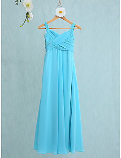 cheap Junior Bridesmaid Dresses-Mermaid / Trumpet Straps Floor Length Chiffon Junior Bridesmaid Dress with Criss Cross by LAN TING BRIDE®