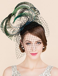 cheap Wedding Accessories-Tulle Feather Fascinators Hats 1 Wedding Special Occasion Casual Headpiece