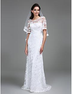 billiga Åtsmitande brudklänningar-Åtsmitande Scoop Neck Golvlång Spets Bröllopsklänningar tillverkade med Spets av LAN TING BRIDE® / Genomskinliga