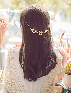 Women Casual Hollow Leaves Alloy Hairpin Head Chain Hair Accessories  1 Piece