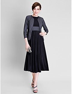 cheap Mother of the Bride Dresses-A-Line Jewel Neck Tea Length Polyester / Jersey Mother of the Bride Dress with Sash / Ribbon / Pleats by LAN TING BRIDE®