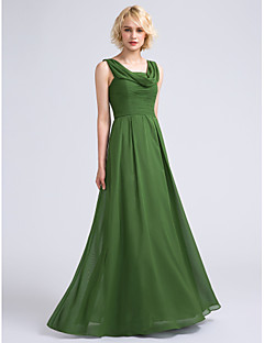 cheap Long Bridesmaid Dresses-A-Line Cowl Neck Floor Length Chiffon Bridesmaid Dress with Ruched by LAN TING BRIDE®