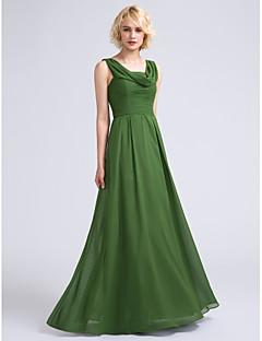 tanie Zielony szyk-Krój A Komin Sięgająca podłoża Szyfon Sukienka dla druhny z Marszczenia przez LAN TING BRIDE®