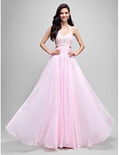 Γραμμή Α Δένει στο Λαιμό Μακρύ Σιφόν Χορός Αποφοίτησης Επίσημο Βραδινό Φόρεμα με Διακοσμητικά Επιράμματα με TS Couture®