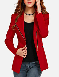 Women's Plus Size / Going out Vintage Coat,Solid ¾ Sleeve / Long Sleeve Fall / Winter Red / Black Cotton / Others Thin