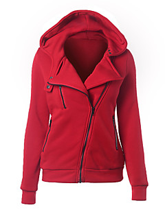 Women's Casual/Daily Simple All Match Loose Zipper Hoodies Solid More Colors Can Available