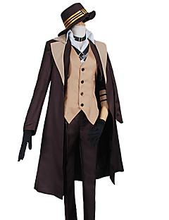 """billige Anime Kostymer-Inspirert av Bungo Stray Dogs Cosplay Anime  """"Cosplay-kostymer"""" Cosplay Klær Ensfarget Frakk Vest Trøye Bukser Krage Hansker Kappe CAP"""