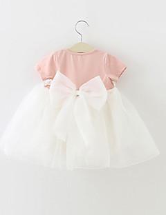 billige Babykjoler-Baby Pigens Kjole Fest Farveblok, Bomuld Polyester Sommer Kortærmet Pænt tøj Rosette Lys pink Lys Grøn