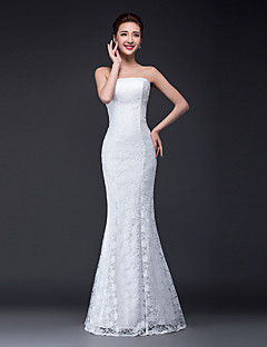 Mermaid / Trumpet Strapless Floor Length Lace Tulle Wedding Dress with Lace by Lover