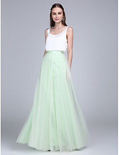 cheap Green Glam-Sheath / Column Scoop Neck Floor Length Tulle Satin Chiffon Bridesmaid Dress with Buttons by LAN TING BRIDE®