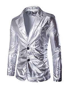billige Herremote og klær-Bomull Tynn Blazer - Ensfarget overdrevet Sofistikert Klubb Herre