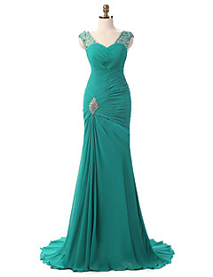 Mermaid / Trumpet V-neck Court Train Chiffon Formal Evening Dress with Side Draping Crystal Brooch Pleats by Shang Shang Xi