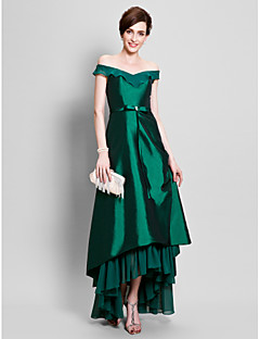 cheap Mother of the Bride Dresses-A-Line Off Shoulder Asymmetrical Chiffon Taffeta Mother of the Bride Dress with Beading Bow(s) Pick Up Skirt Ruffles by LAN TING BRIDE®