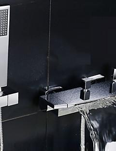 tanie Wodospad-Bateria Prysznicowa / Bateria Wannowa - Współczesny Chrom Wanna i prysznic Zawór ceramiczny / Dwa uchwyty dwa otwory