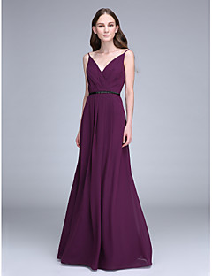 cheap Purple Passion-Sheath / Column Spaghetti Straps Floor Length Chiffon Bridesmaid Dress with Beading by LAN TING BRIDE®