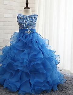 cheap Flower Girl Dresses-Ball Gown Floor Length Flower Girl Dress - Tulle Sleeveless Halter with Beading by LAN TING Express