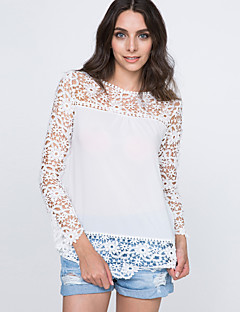 Women's Casual/Daily Simple Summer Blouse,Solid Patchwork Round Neck Long Sleeves Polyester Nylon Thin
