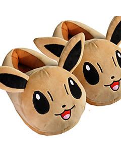 billige Kigurumi-pocket lite monster Eevee med ører kigurumi pyjamas varme tøfler med krage og hælkappe 28cm