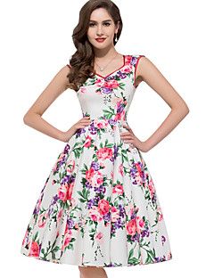 cheap Women's Dresses-Women's Swing Dress - Floral, Pleated High Rise Sweetheart