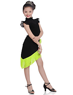 cheap Kids' Dancewear-Children Performance Cotton Tassel(s) 2 Pieces Short Sleeve Natural Top / Skirt Latin Dance Outfits by Shall We®