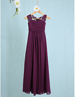 cheap Junior Bridesmaid Dresses-Sheath / Column Straps Ankle Length Chiffon Junior Bridesmaid Dress with Ruching by LAN TING BRIDE®