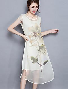 Shift Sukienka Obuwie damskie Codzienne / Rozmiar plus Vintage Kwiaty,Okrągły dekolt Midi Krótki rękaw Niebieski / Czerwony / Beżowy