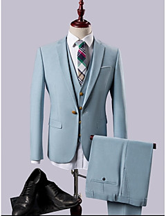 Sky blue MultiColor Solid Slim Fit Polyester/Rayon(T/R) Suit - Notch Single Breasted One-button