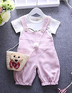 billige Babyoverdele-Baby Pige Tøjsæt Daglig Bomuld Forår Sommer Efterår Kortærmet Tegneserie Rød Lys pink Kakifarvet