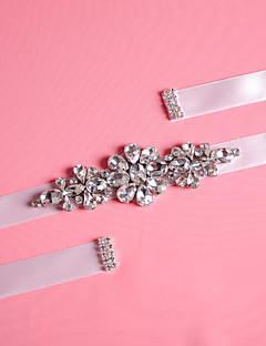 cheap Weekly Special-Satin Wedding Party / Evening Dailywear Sash With Rhinestone Crystal Beading Women's Sashes