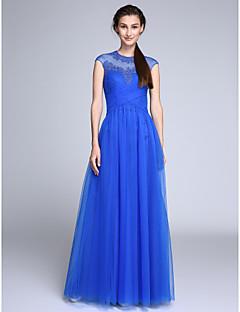 Linia -A Bijuterie Lungime Podea Tulle Bal Seară Formală Rochie cu Aplică Cruce de TS Couture®