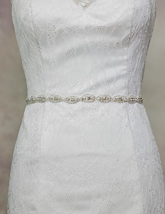 cheap Weekly Special-Satin Wedding Party / Evening Dailywear Sash With Rhinestone Beading Sequin Women's Sashes