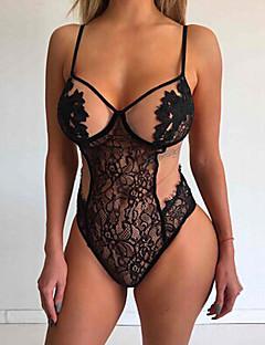Для женщин Кружевное белье Ночное белье,Сексуальные платья Кружева Жаккард-Тонкий Кружева Черный