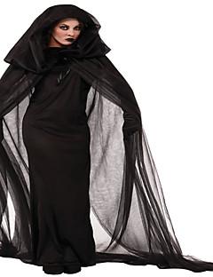 Tovenaar/Heks Cosplay Kostuums Feestkostuum Vrouwelijk Halloween Festival/Feestdagen Halloweenkostuums Zwart Effen Kant