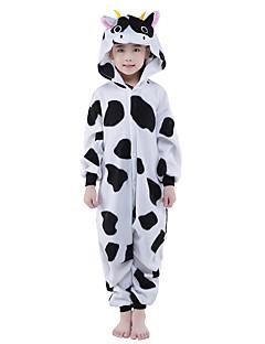 billige Kigurumi-Kigurumi-pysjamas Melkeku Onesie-pysjamas Kostume Polar Fleece Svart Cosplay Til Barne Pysjamas med dyremotiv Tegnefilm Halloween
