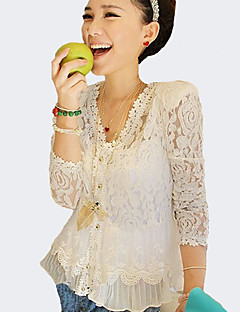 Women's Going out Sexy Spring Summer Fall Blouse,Solid V Neck Long Sleeves Polyester Thin