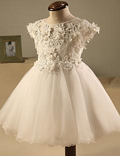 billige -a-line kort / mini blomst pige kjole - tule kort ærmer juvel hals med beading af lovelybees
