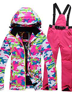 GQY® Mulheres Calças & Jaquetas de Esqui Prova-de-Água Térmico/Quente A Prova de Vento Vestível Esqui Esportes de Inverno Poliéster