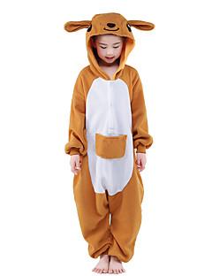 billige Kigurumi-Kigurumi-pysjamas Kenguru Onesie-pysjamas Kostume Fløyel Mink Oransje Cosplay Til Barn Pysjamas med dyremotiv Tegnefilm Halloween