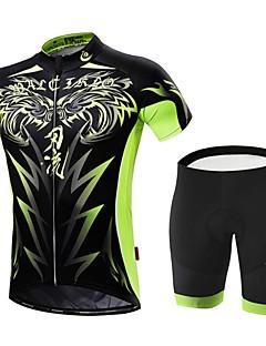 שרוול קצר לגברים אופניים מדים בסטיםנושם ייבוש מהיר רוכסן קדמי לביש חדירות גבוהה לאוויר (מעל 15,000 גרם) דחיסה חומרים קלים 3D לוח כיס