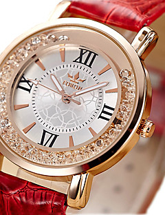 Women's Fashion Watch Floating Crystal Watch Quartz / Imitation Diamond PU Band Vintage Black White Red Pink