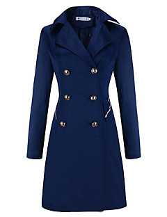 cheap Women's Coats & Trench Coats-Women's Casual Trench Coat - Solid Colored