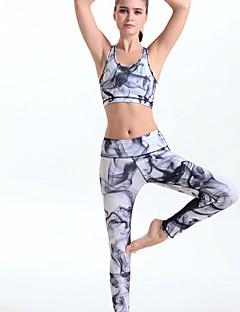 billiga Träning-, jogging- och yogakläder-Dam Brottarrygg 1 st Sport-BH med joggingbyxor - Grå sporter Leggings / Klädesset Yoga Sportkläder Kompression, Butt Lift Elastisk