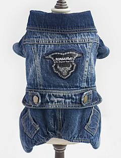 billiga Hundkläder-Hund Jumpsuits Jeansjackor Hundkläder Jeans Denim Kostym För husdjur Herr Dam Cowboy Mode