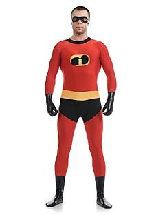 billige Zentai-Zentai Drakter Superhelter Zentai Cosplay-kostymer Rød Lapper Trikot / Heldraktskostymer Zentai Spandex Elastan Herre Dame Halloween