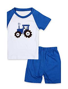 tanie Odzież dla chłopców-Komplet odzieży Odzież do spania Bawełna Dla chłopców Codzienny Patchwork Lato Krótki rękaw Kreskówka Niebieski